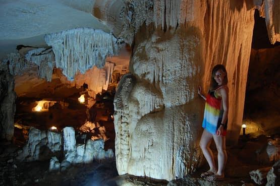 Stalactites and Stalagmites in Thien Cung Grotto