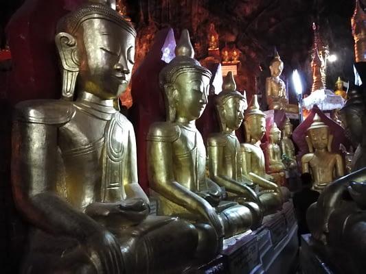 Gold Buddhas in Pindaya Caves
