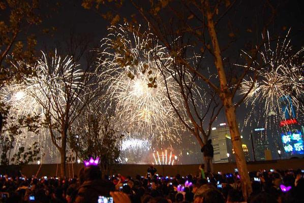 Shanghai New Year's Eve Fireworks the Bund